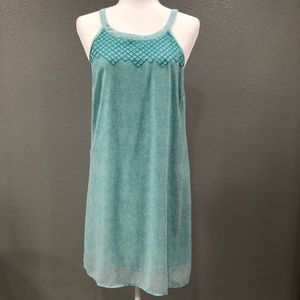 Skies are Blue Turquoise/White Embroidered Dress